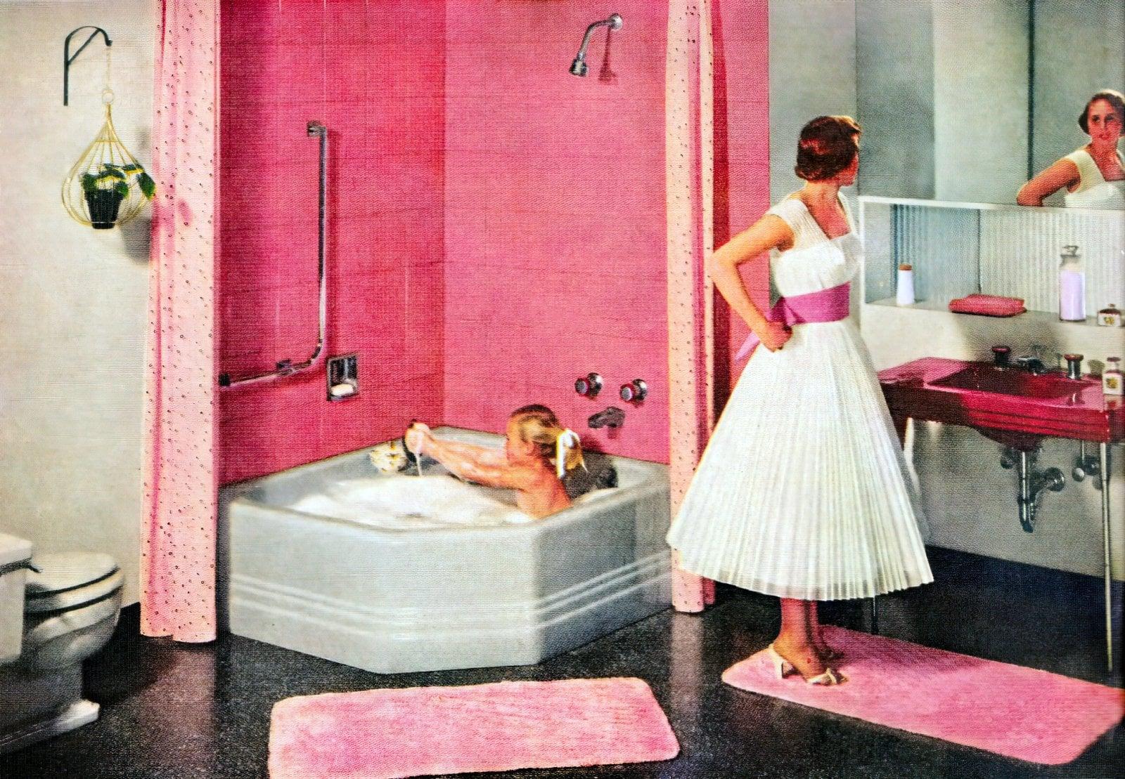 Vintage pink American Standard bathroom (1956)