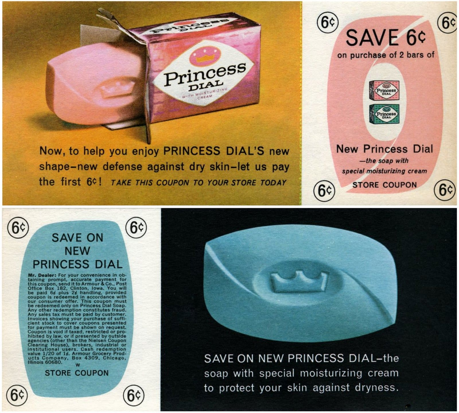 Vintage pink and blue Princess Dial soap (1960s)