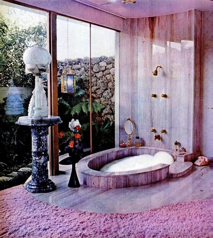 Vintage pink bathroom decor from 1964 - Los Angeles mansion home of Mrs Alfred Mathes in Life