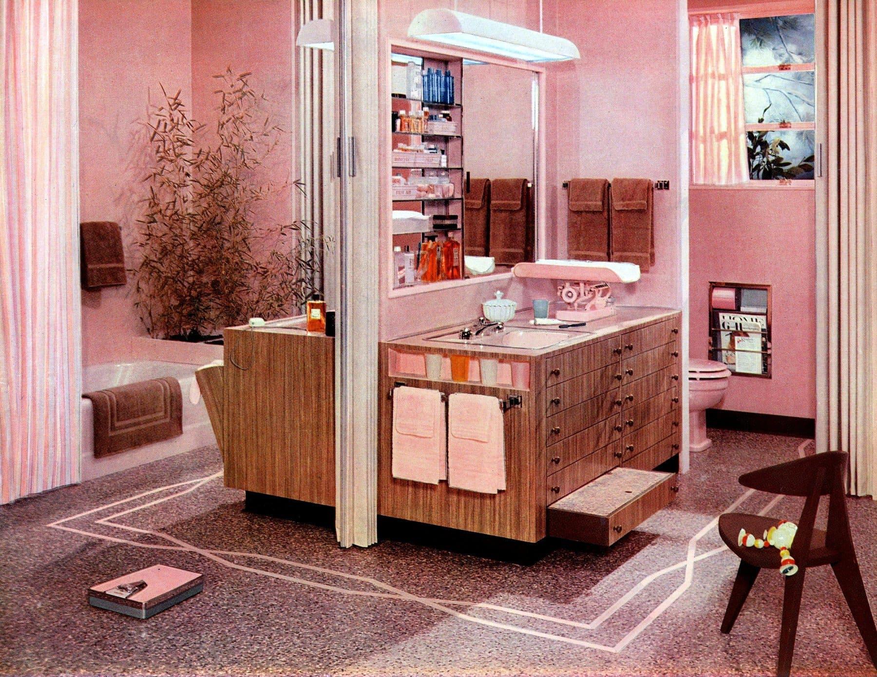 Vintage pink bathrooms A thoroughly feminine midcentury bathroom suite (1957)