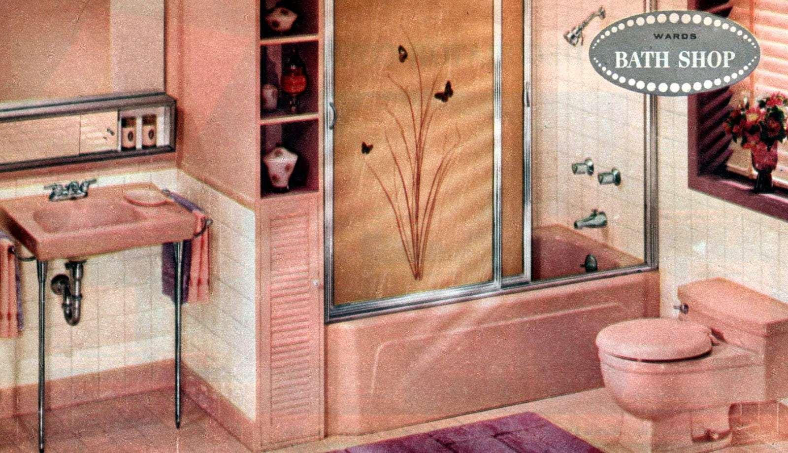 Vintage pink bathrooms Montgomery Ward bathroom suites 1961