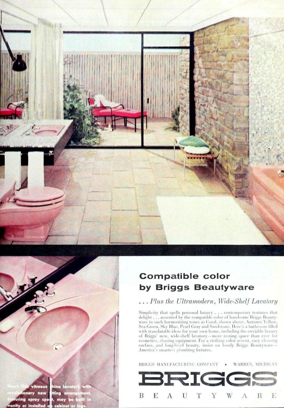 Vintage pink feminine midcentury bathroom suite (1958)