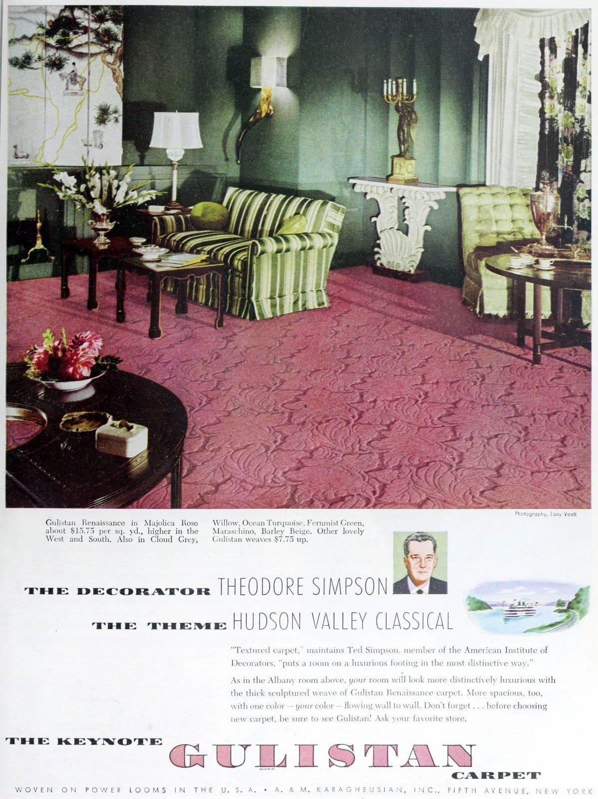Vintage pink floral Gulistan textured carpet (1949)