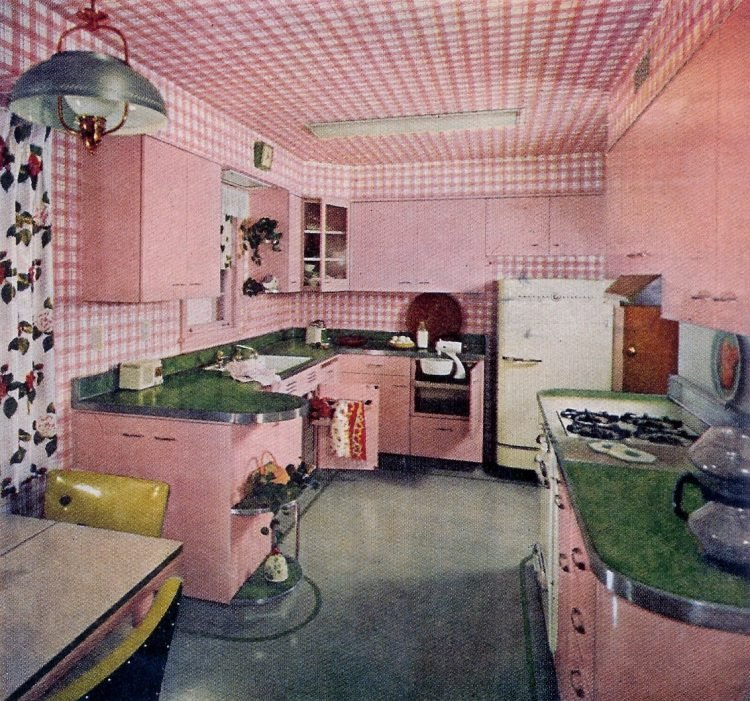 Vintage pink kitchen from 1950