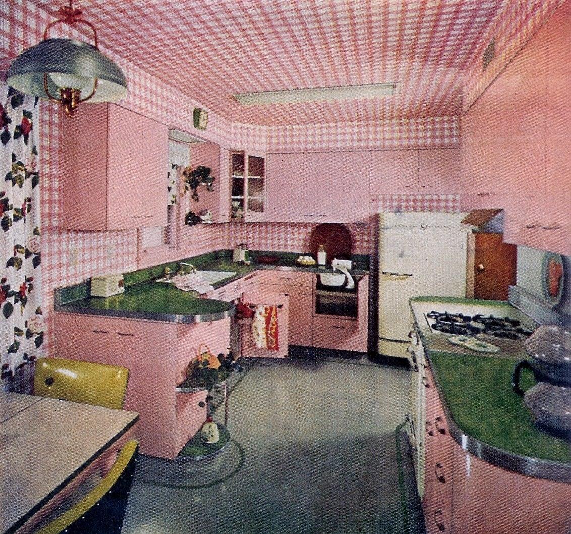 Vintage pink kitchen from 1950