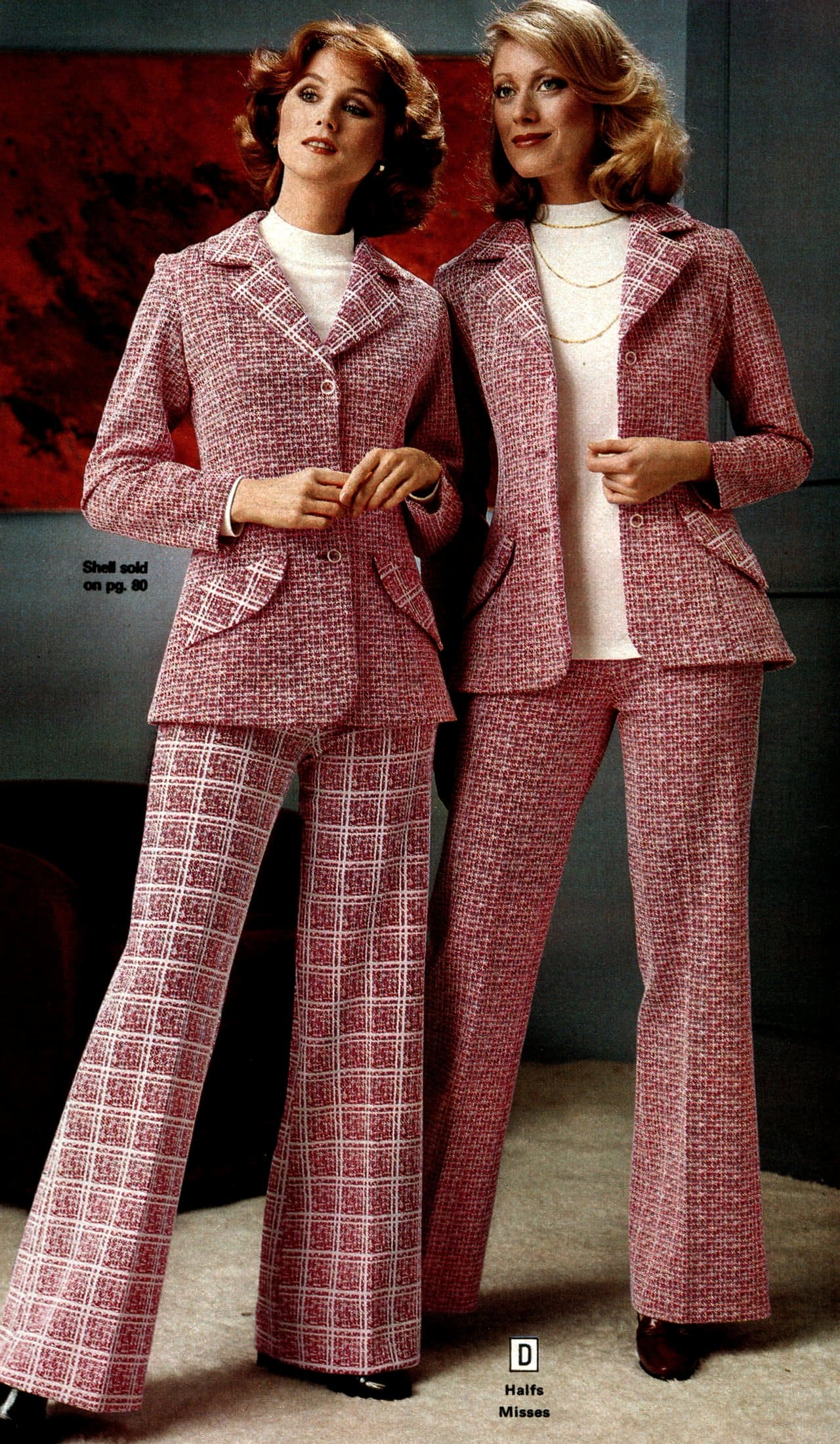 Vintage pink knit casual suits for women (1979)