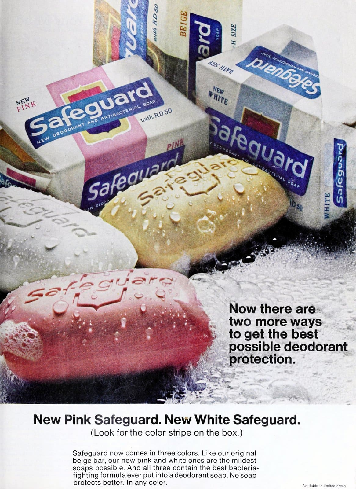 Vintage pink, white and yellow Safeguard bar soap (1967)