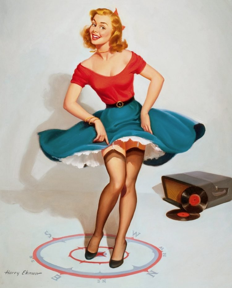 Vintage pinup girl by Harry Ekman