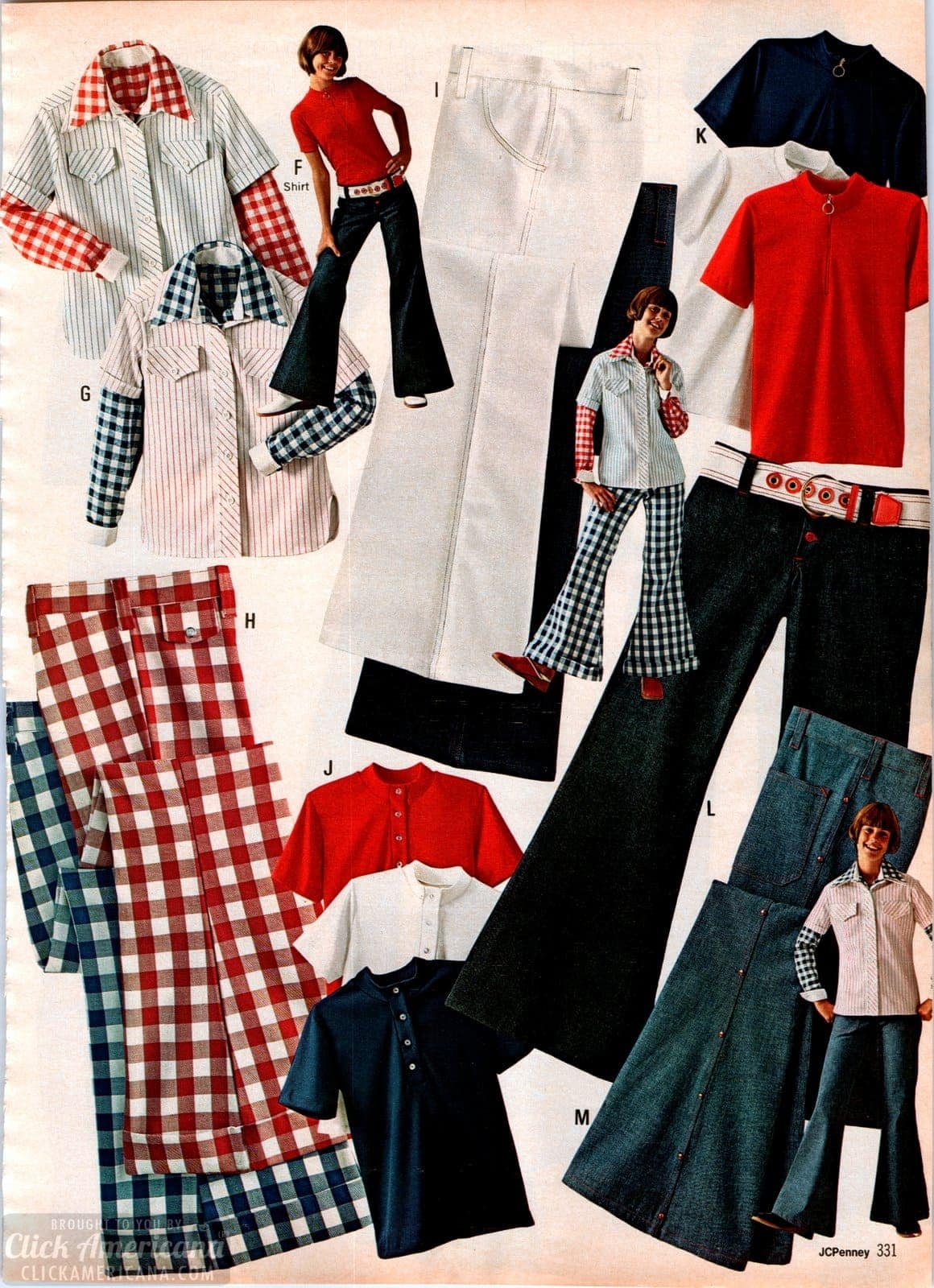 Vintage plaid pants - bell bottom jeans and clothes for girls in red white and blue