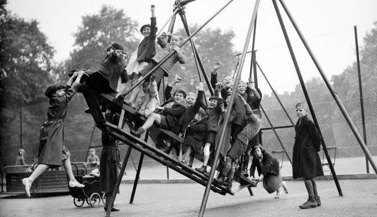 Vintage playground ship swing c1920s