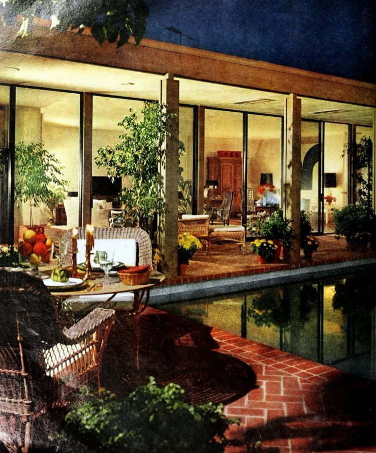 Vintage pool for entertaining area at night - 1960s