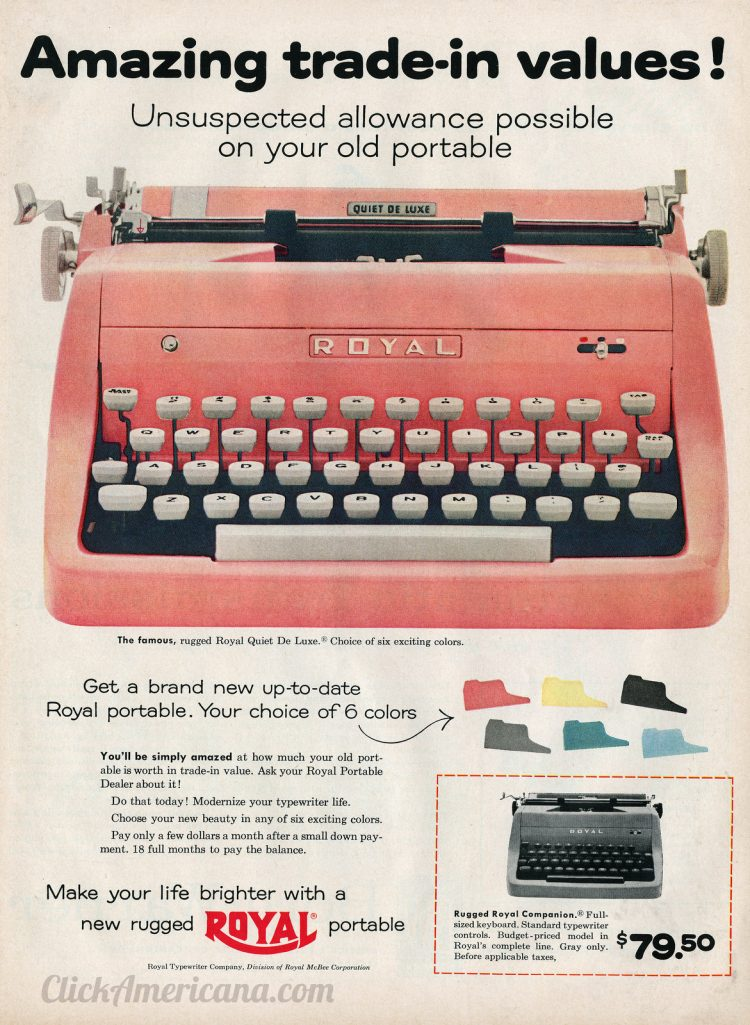 Vintage portable manual typewriters from 1956