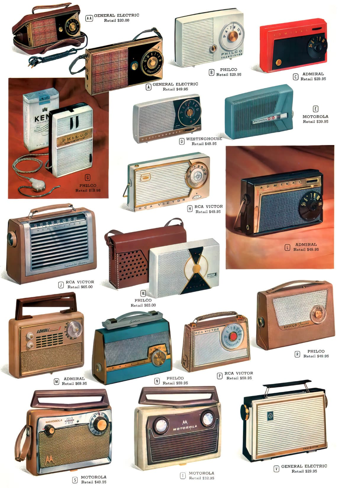 Vintage portable radios from the 1950s