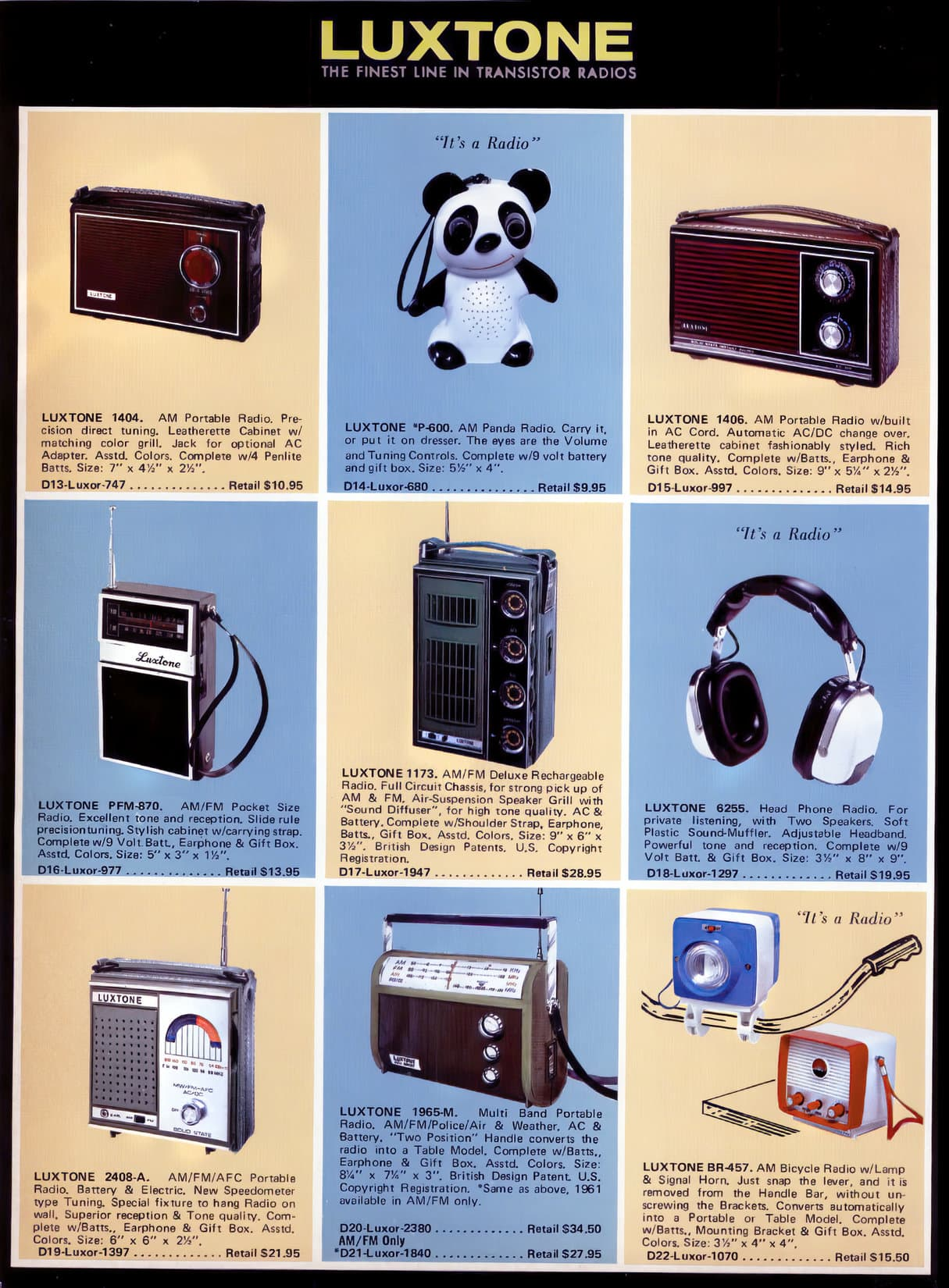 Vintage Luxtone portable radios from the 1960s