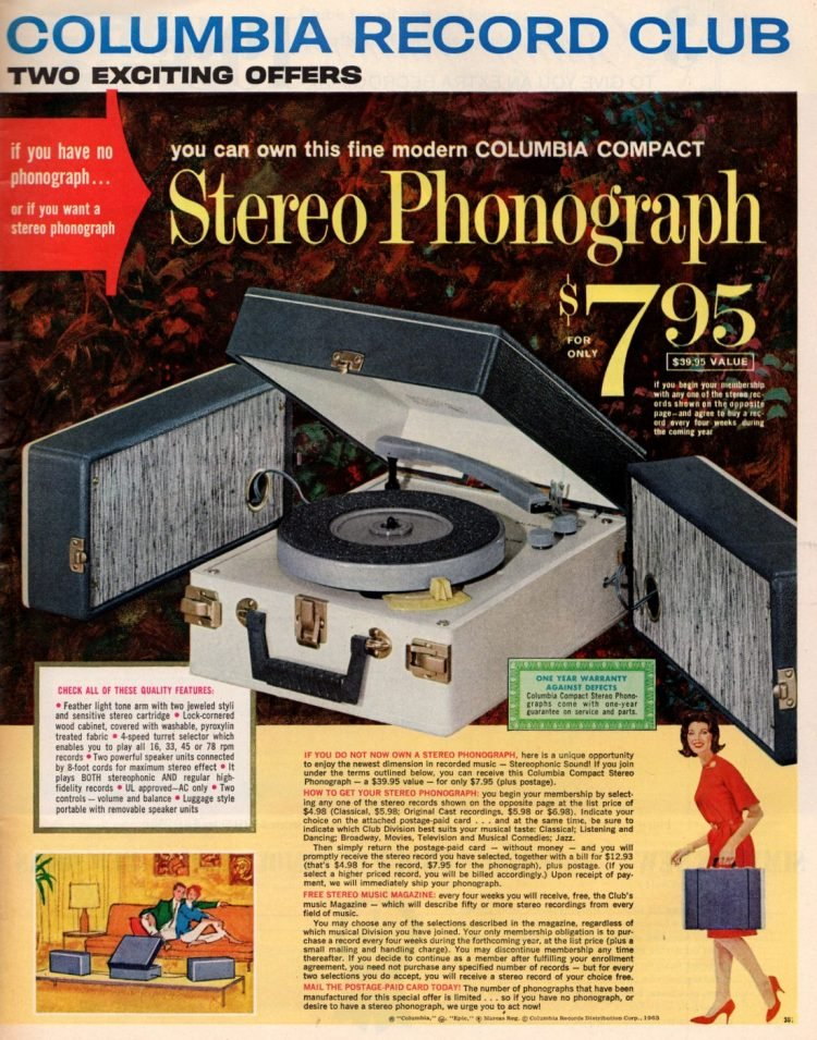 Vintage portable turntable - Stereo phonograph from 1963