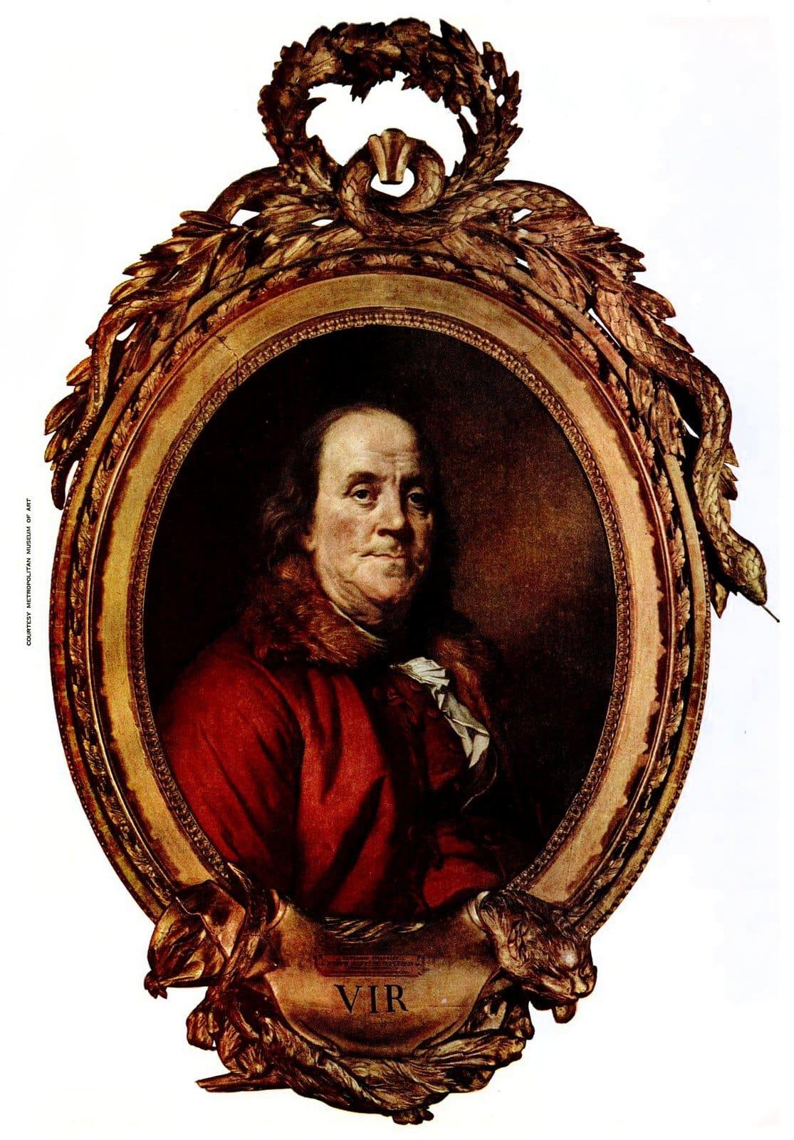 Vintage portrait of Benjamin Franklin