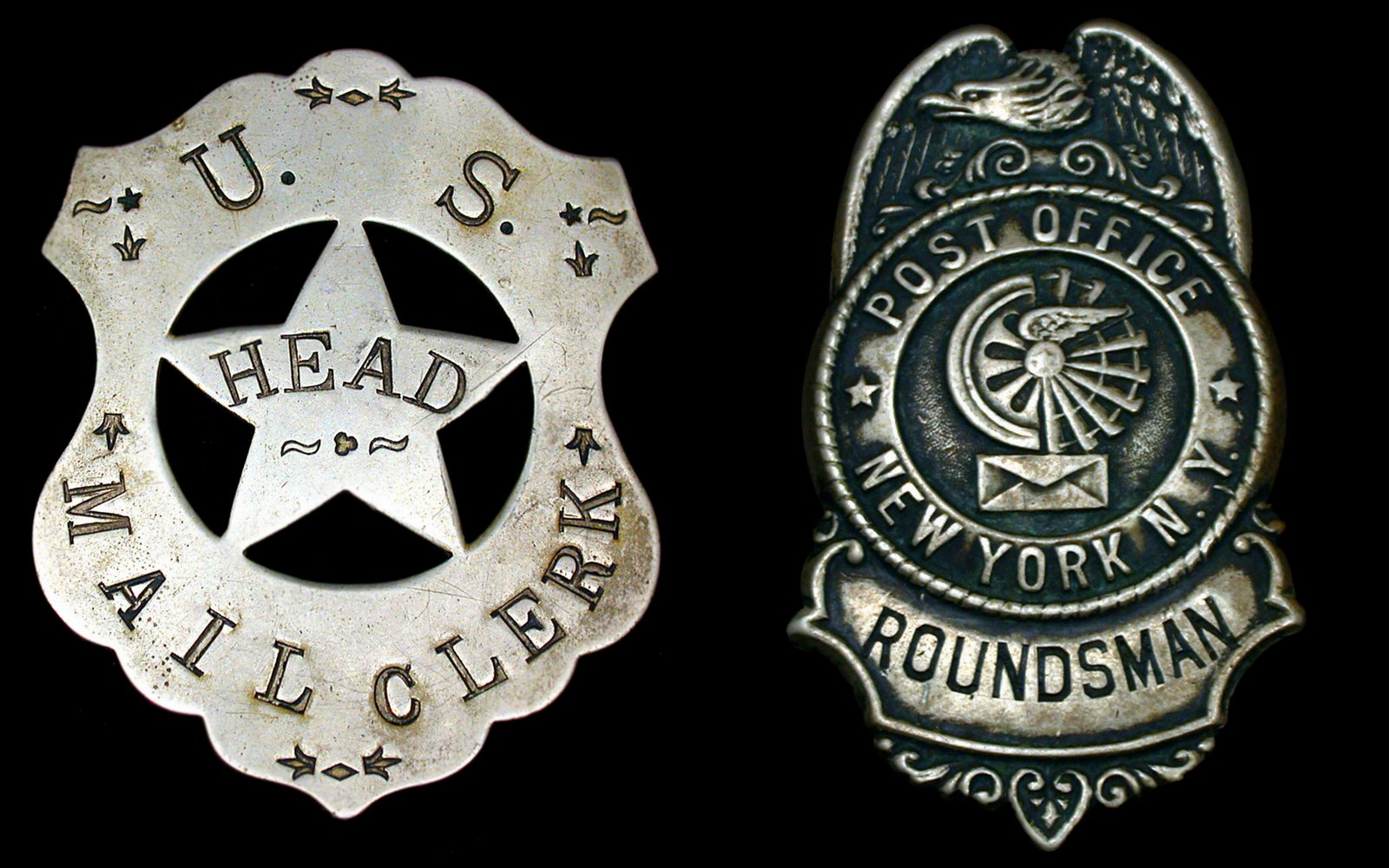 Vintage post office badges - US Head Mail Clerk and New York Roundsman
