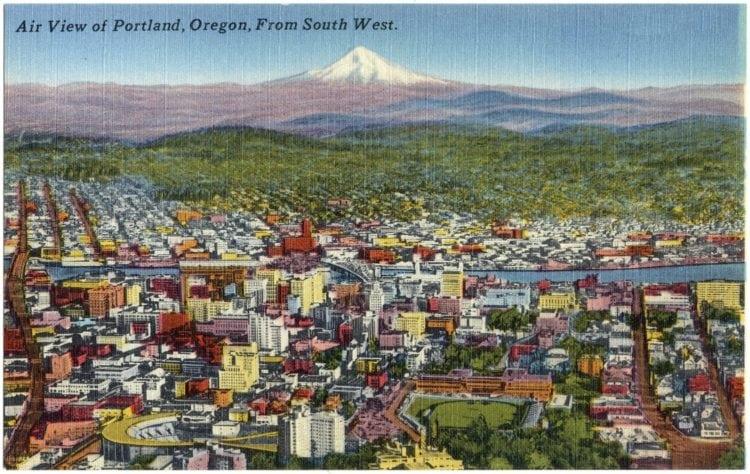 Vintage postcard Air view of Portland Oregon