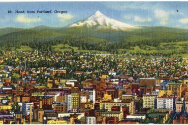 Vintage postcard Mt Hood from Portland Oregon