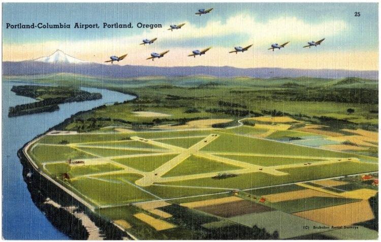 Vintage postcard Portland-Columbia airport Oregon