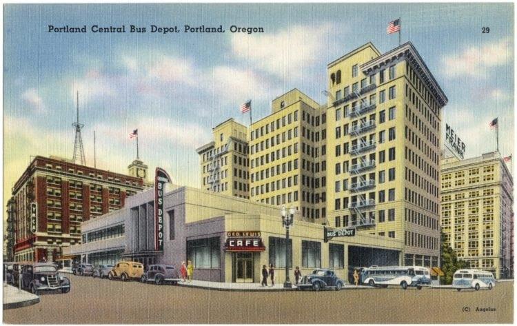 Vintage postcard Portland Oregon bus depot