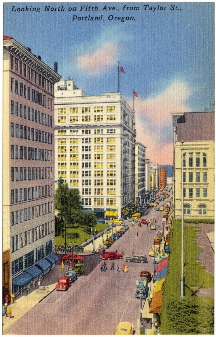 Vintage postcard Portland Oregon city view