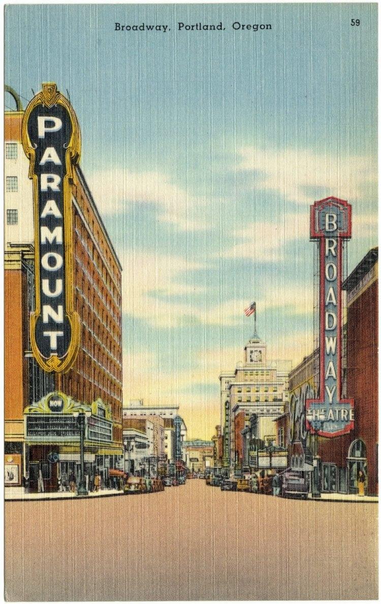 Vintage postcard Portland Oregon theatres