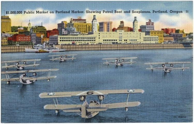 Vintage postcard Public Market Portland Oregon