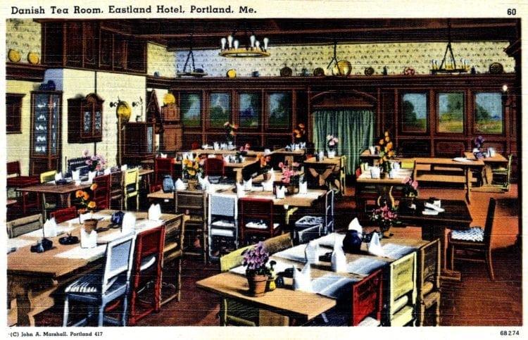 Vintage postcard - Tea room in Portland Maine