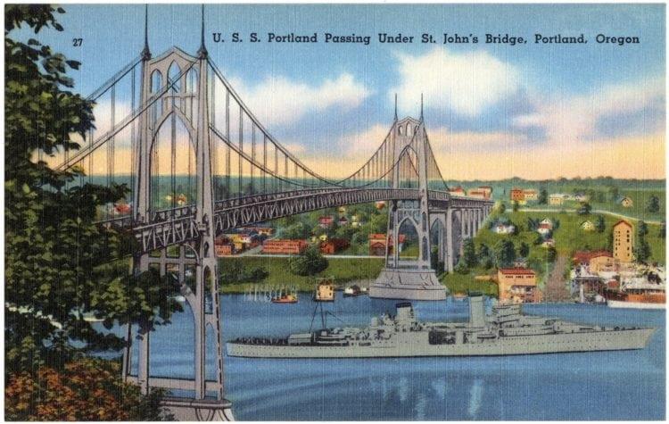 Vintage postcard USS Portland and Bridge Portland Oregon