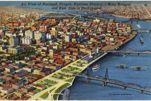 Vintage postcard air view Portland Oregon
