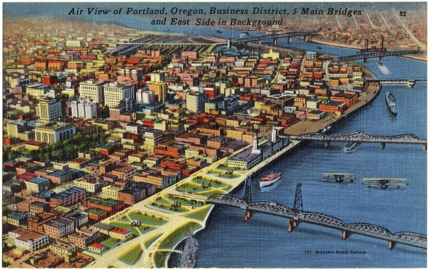 Vintage postcard air view Portland Oregon