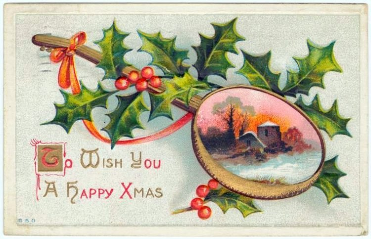 Vintage postcard from 1910 with greeting - To wish you a happy Xmas