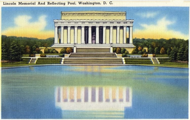 Vintage postcard of Lincoln Memorial and Reflecting Pool, Washington, D. C