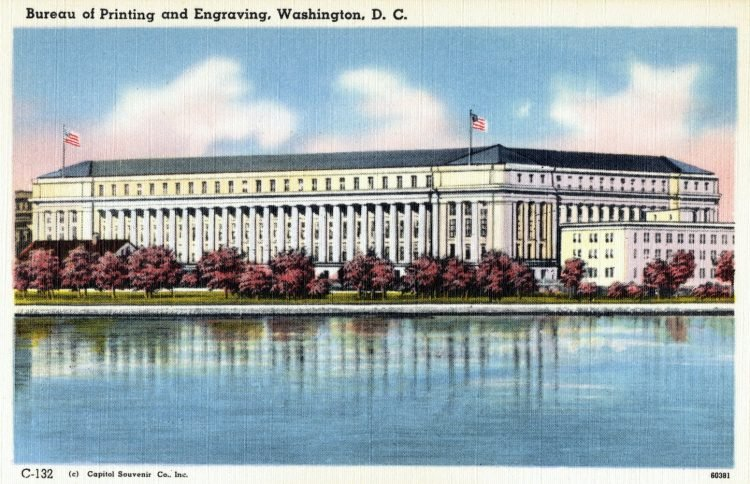 Vintage postcard of old Bureau of Printing and Engraving, Washington, DC
