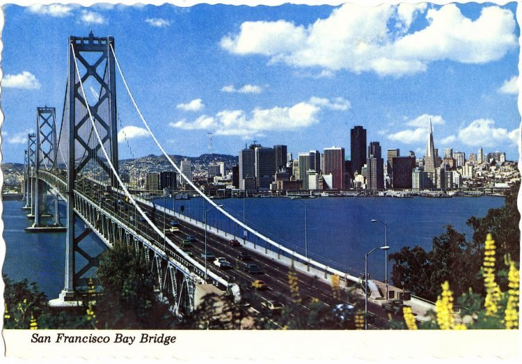 Vintage postcard of the San Francisco Bay Bridge