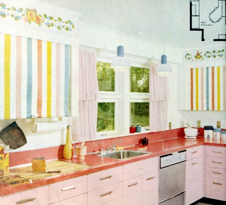 Vintage pretty pink and pastel-colored kitchen decor 1950s
