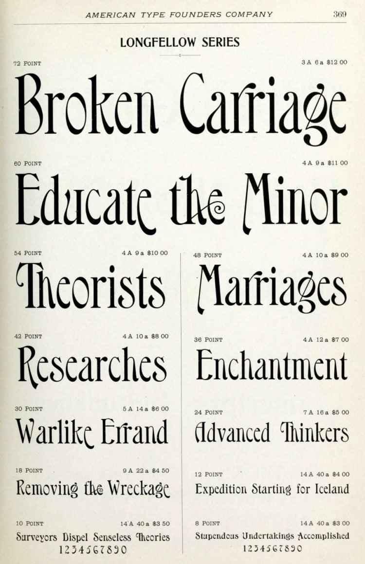 Vintage print type styles - Longfellow series font