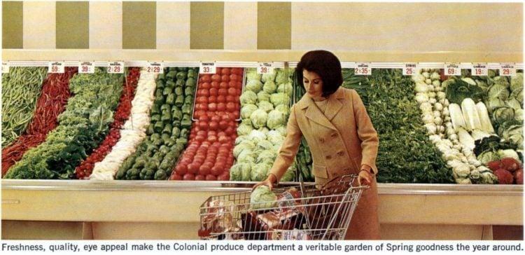 Vintage produce supermarke display in 1965