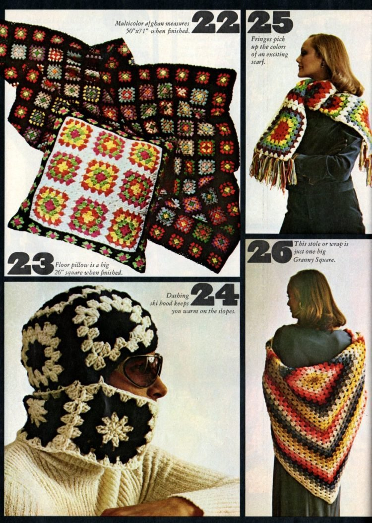 Vintage projects to crochet with granny squares 1970s (5)
