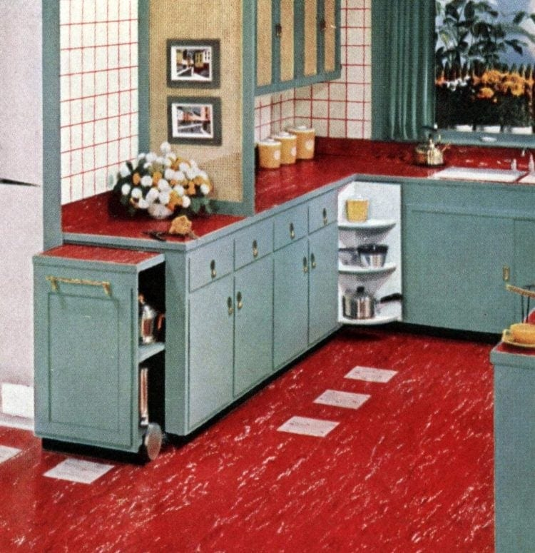 Vintage pull-out kitchen storage and countertop from the early 1950s