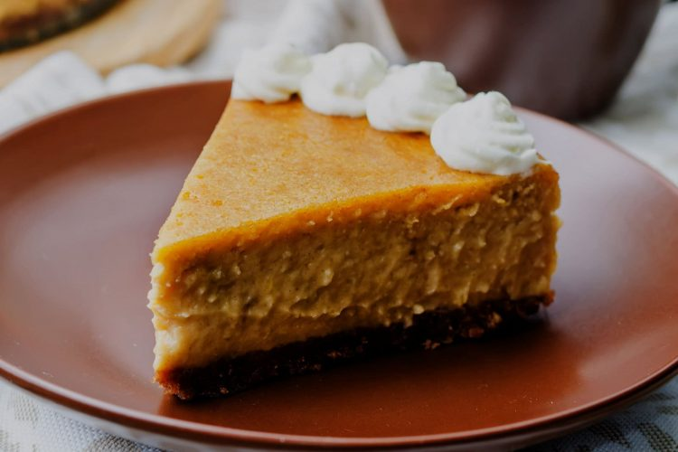 Vintage pumpkin pie in graham cracker crumb crust