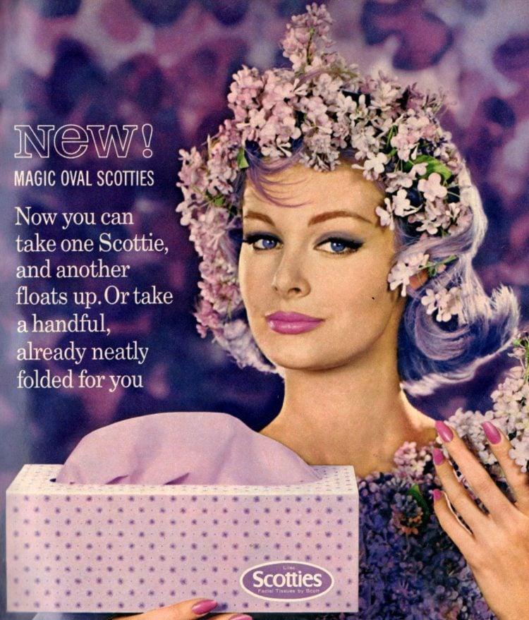 Vintage purple Scotties tissues from 1962