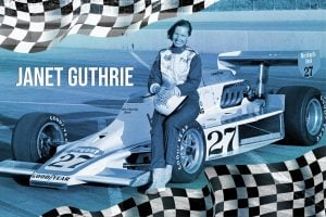 Vintage race car driver Janet Guthrie - Press photo