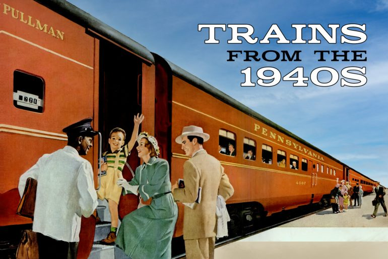 Vintage railroad passenger trains from the 1940s