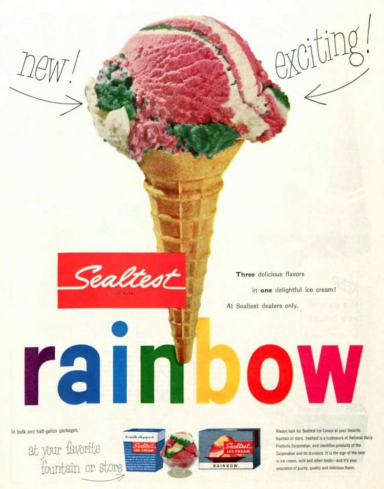 Vintage rainbow ice cream from the 50s - Sealtest 1953