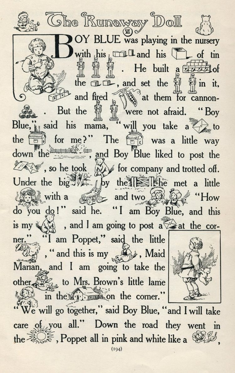 Vintage rebus story of The Runaway Doll from 1908 (1)
