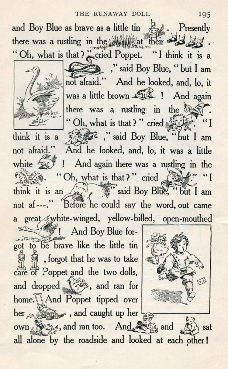 Vintage rebus story of The Runaway Doll from 1908 (2)