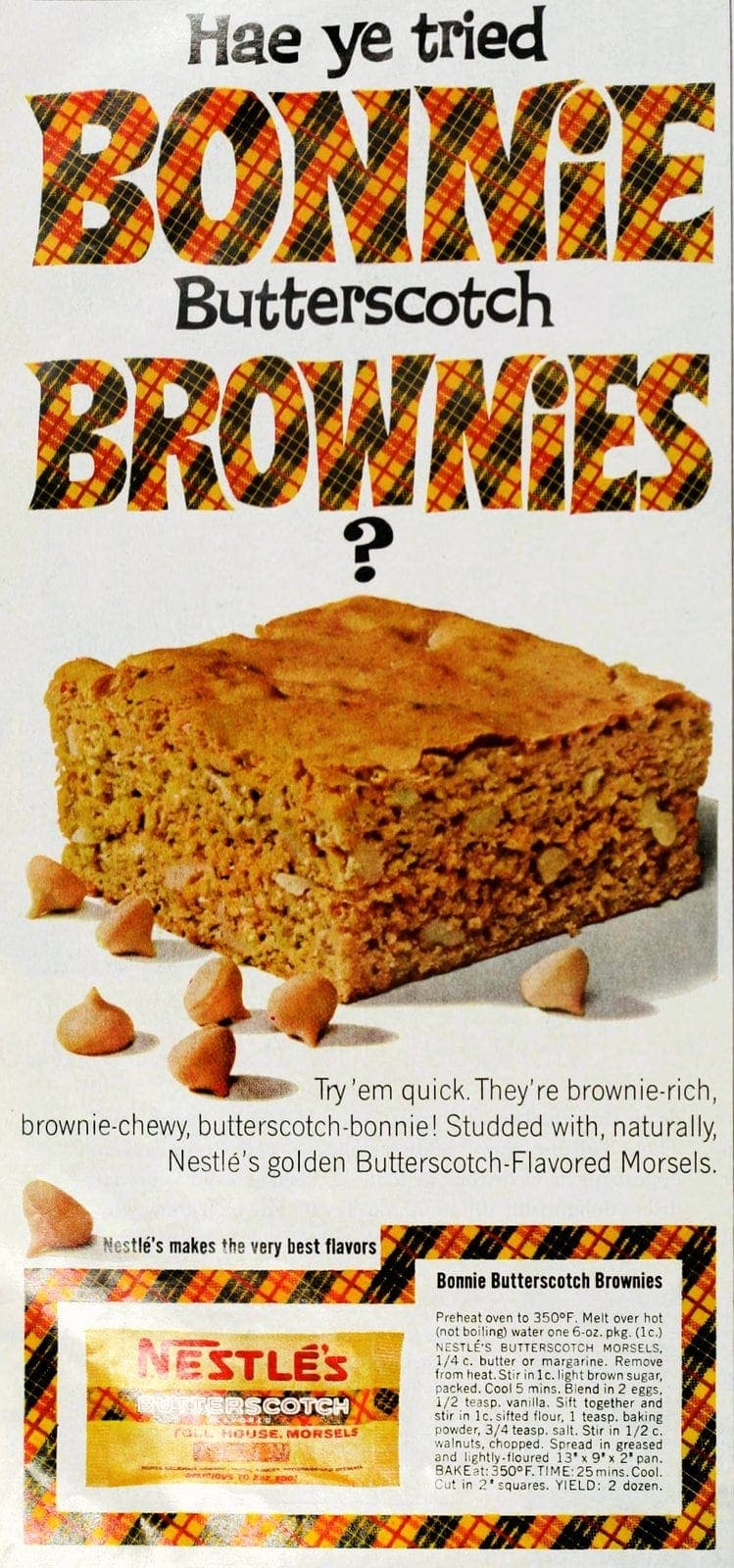 Vintage recipe - Bonnie butterscotch brownies (1964)