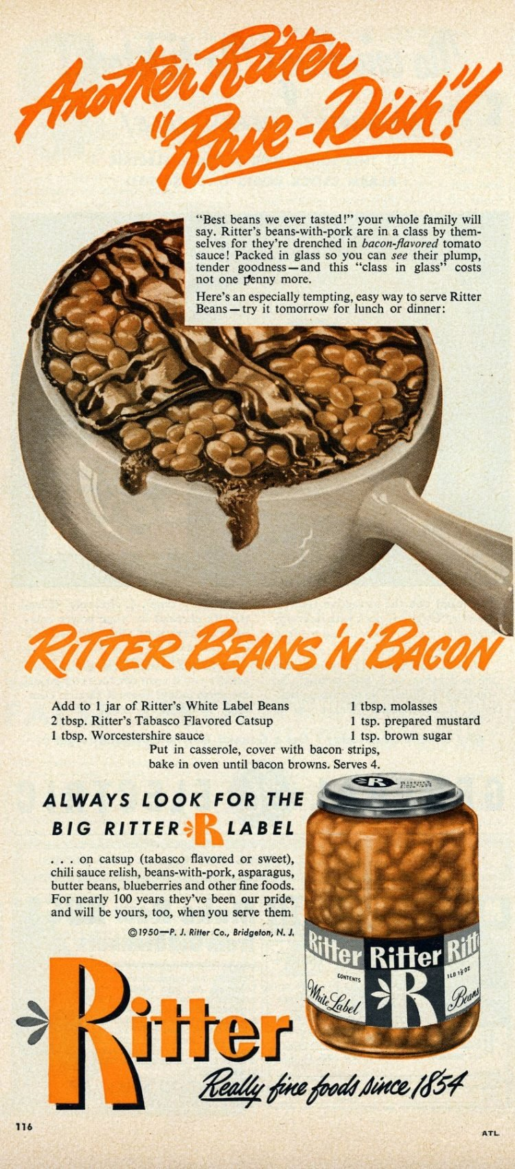 Vintage recipe - Ritter baked beans 'n' bacon (1950)